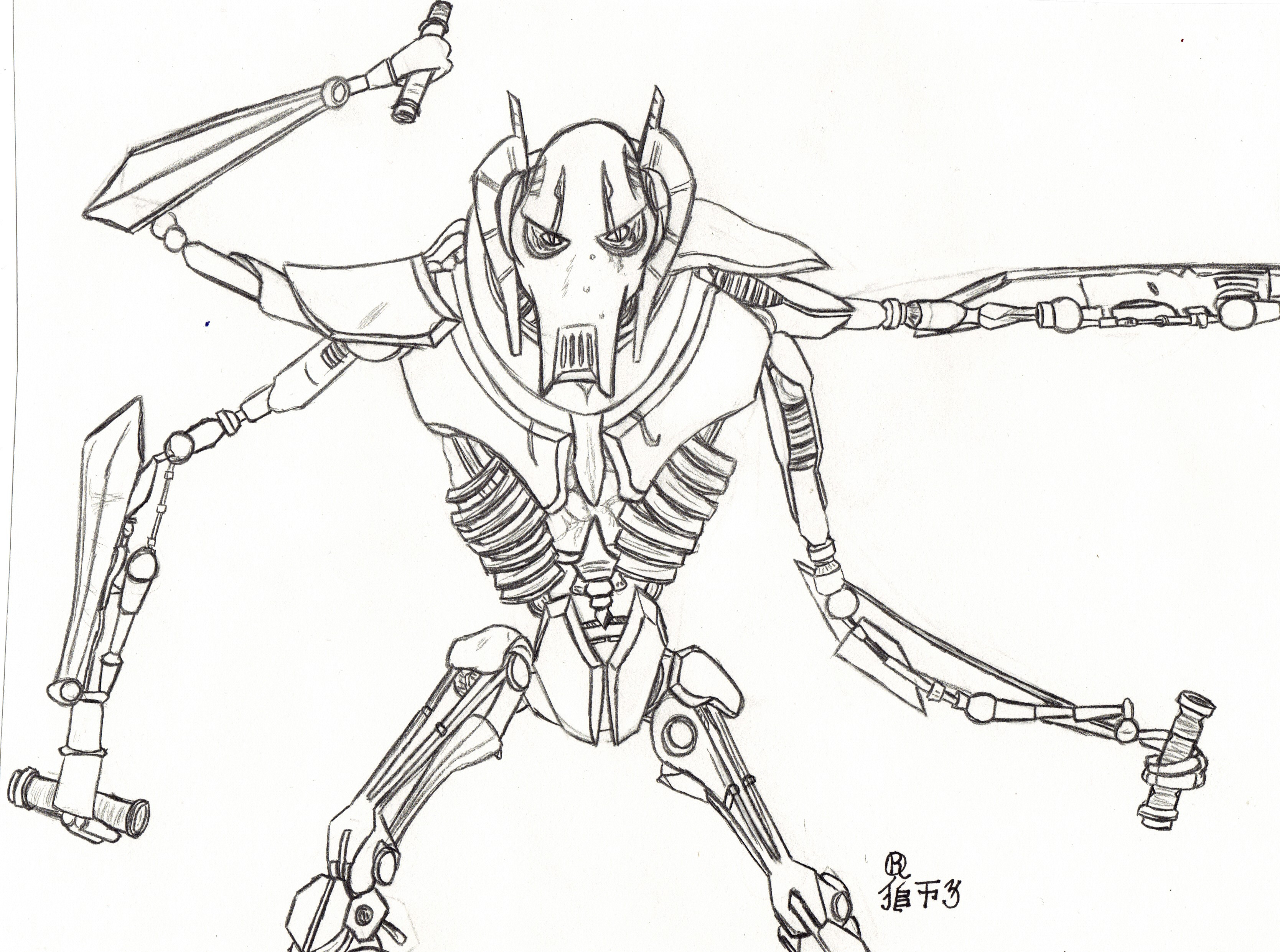 3337x2483 Lovely Star Wars Coloring Pages General Grievous