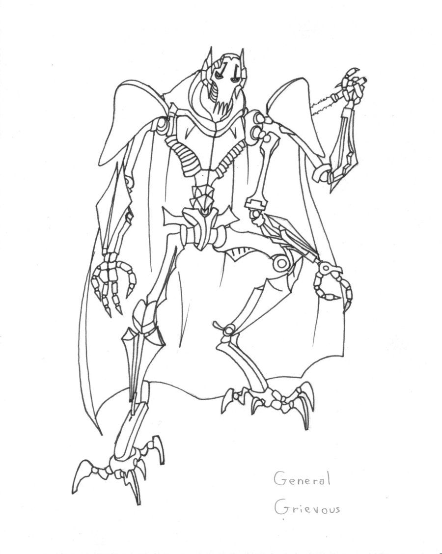 900x1128 Star Wars Coloring Pages General Grievous