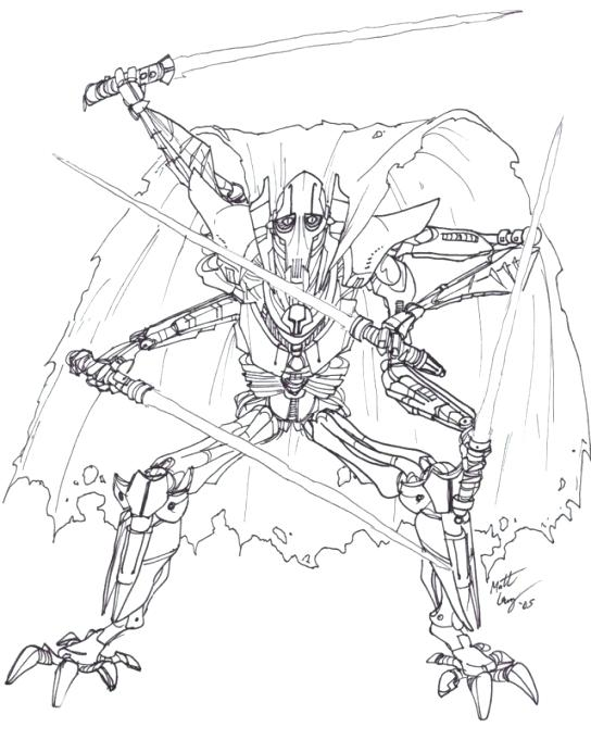 544x681 General Grievous Coloring Page Star Wars General Grievous Coloring