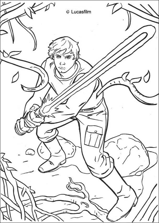 607x850 Luke Skywalker On Dagobah Coloring Page For The Kids