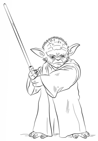 333x480 Yoda With Lightsaber Coloring Page From Star Wars Category Select