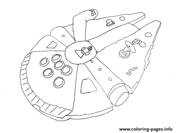 600x450 Simple Millenium Falcon Star Wars Ship Coloring Pages Printable