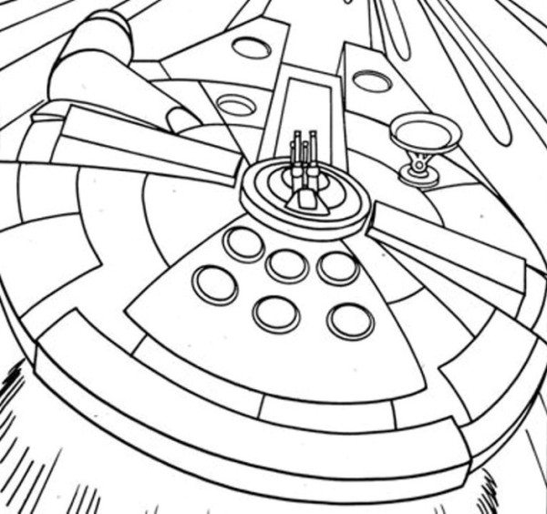 600x564 Spaceship Coloring Pages Simple Millenium Falcon Star Wars Ship