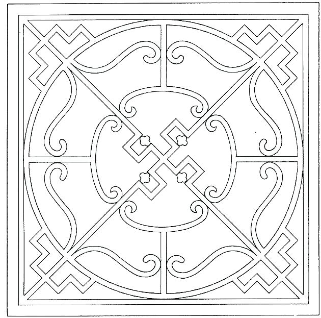 630x623 Geometric Pattern Coloring Pages For Adults