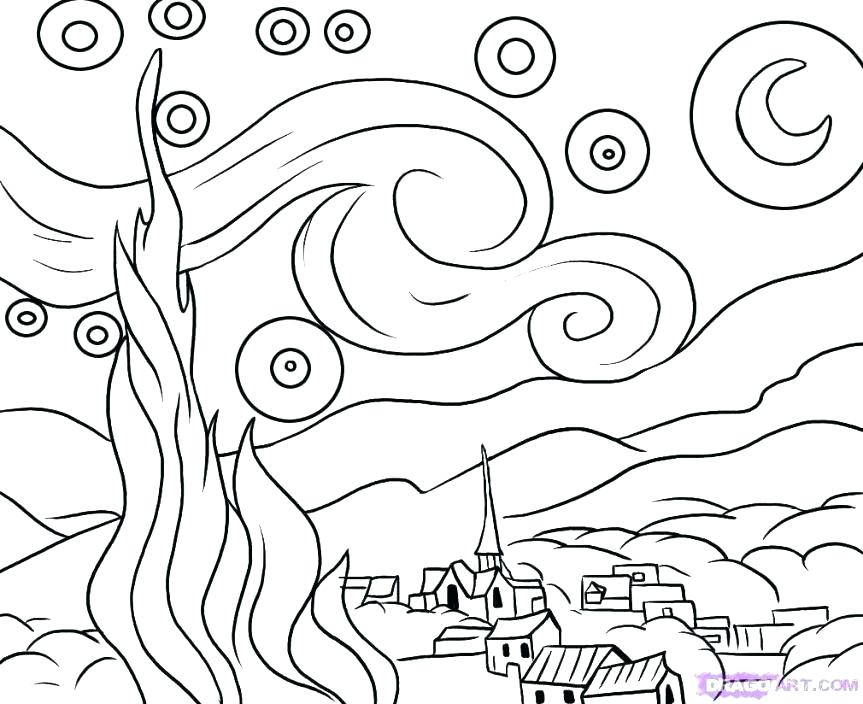 863x704 Starry Night Coloring Page New Famous Painting Coloring Pages Fee
