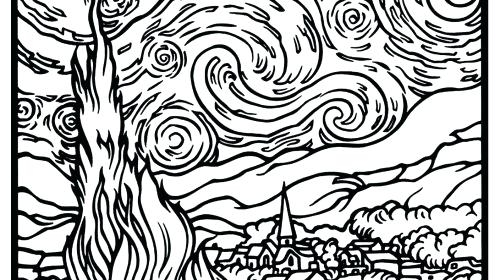 The Best Free Starry Night Coloring Page Images Download From 580 Free Coloring Pages Of Starry Night At Getdrawings