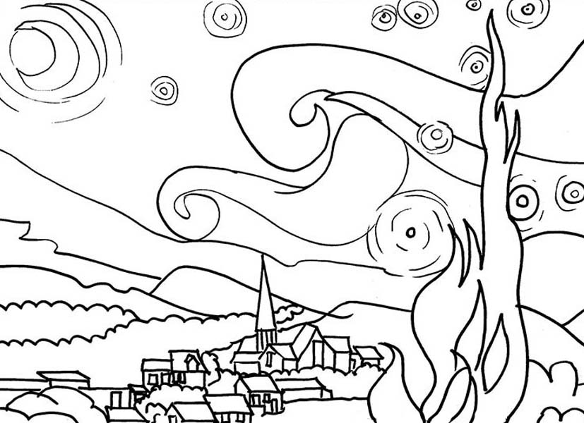 Starry Night Coloring Page at GetDrawings