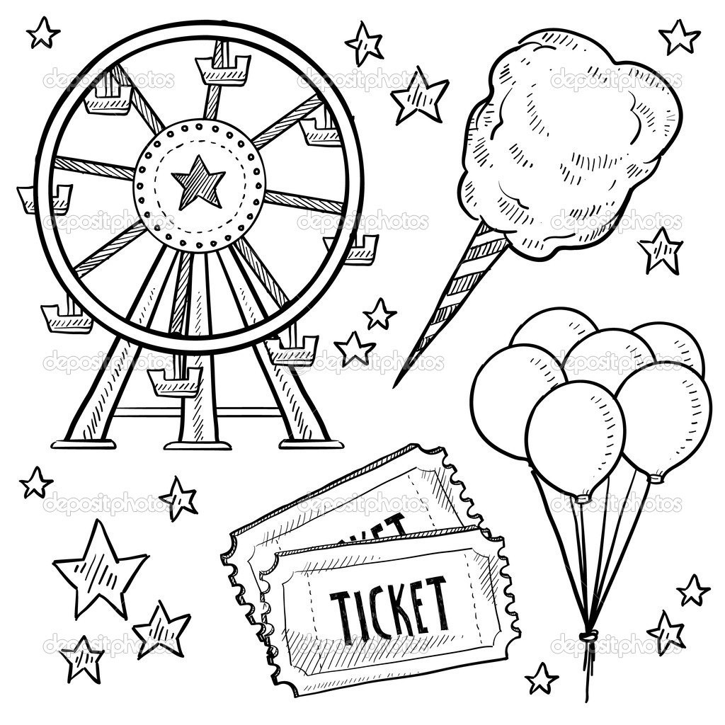 1024x1024 Carnival Coloring Sheets For County Fair Pages