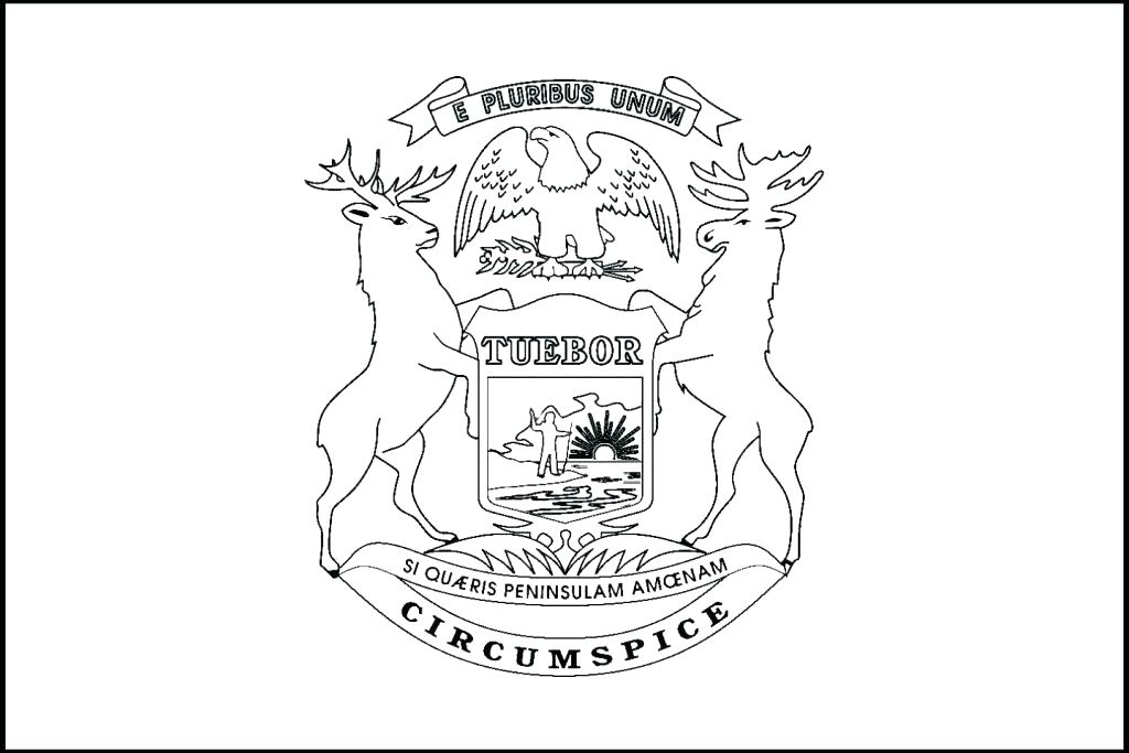 1024x683 Michigan Coloring Book State Symbols Coloring Pages State Flag