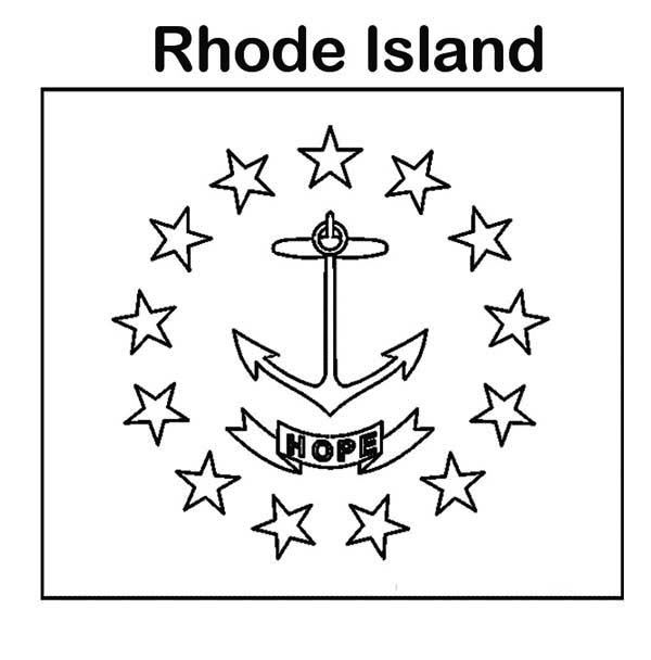600x608 State Flag Of Rhode Island Coloring Page Color Luna