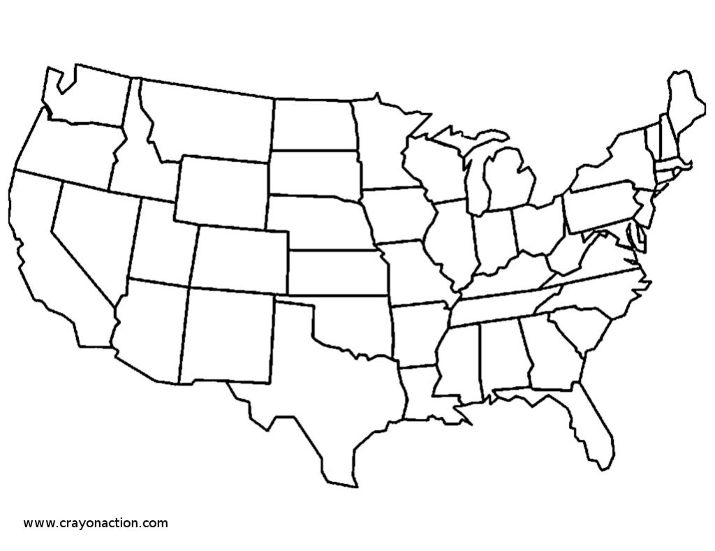 1024x789 United State Map Coloring Page Continental States Crayon Action