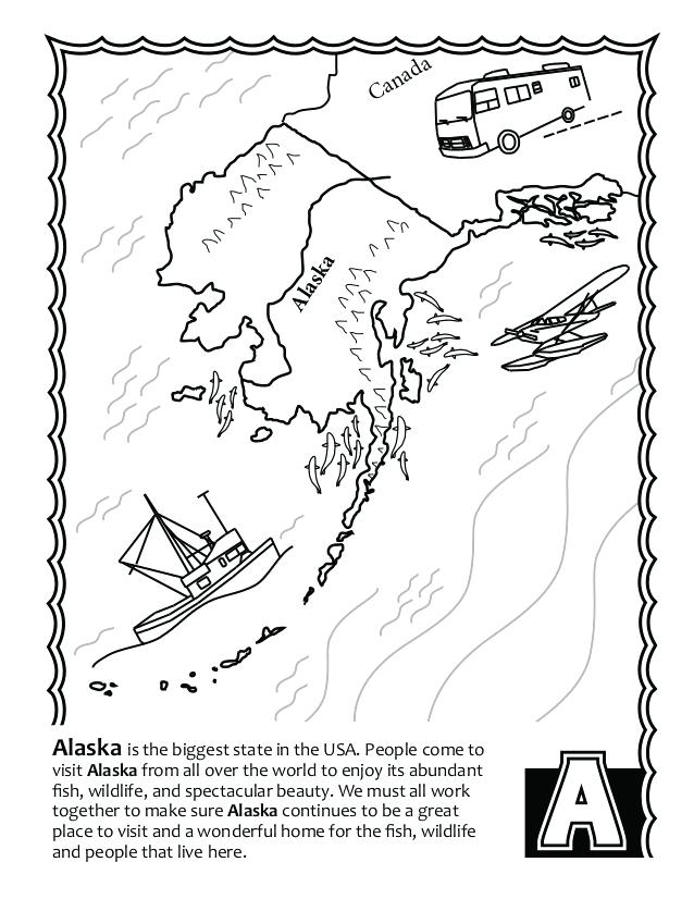 638x826 Alaska Coloring Page Free Fish S Coloring Book State Map Coloring