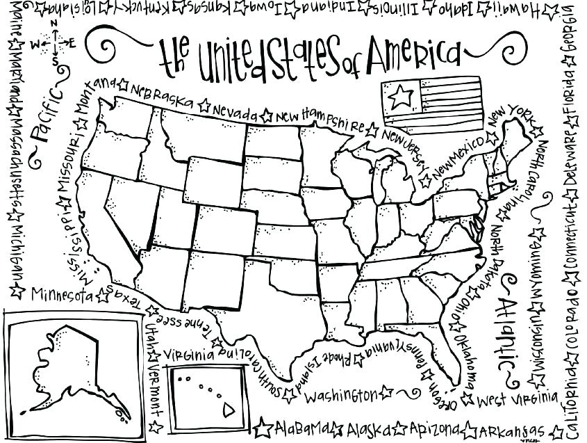 845x637 Coloring Pages Of United States Us State Map Coloring Page Maps