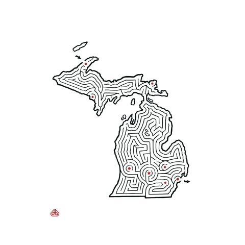 480x480 Michigan Coloring Pages State Flag Of Coloring Page Michigan State