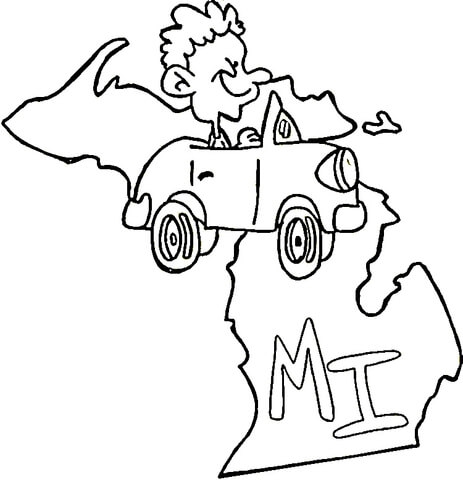 463x480 Michigan Coloring Pages State Of Michigan Coloring Page Free