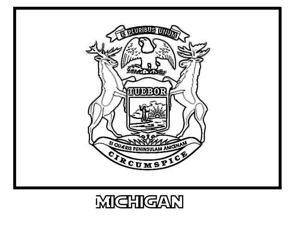 600x464 Michigan State Flag Coloring Page State Flag Of Michigan Coloring