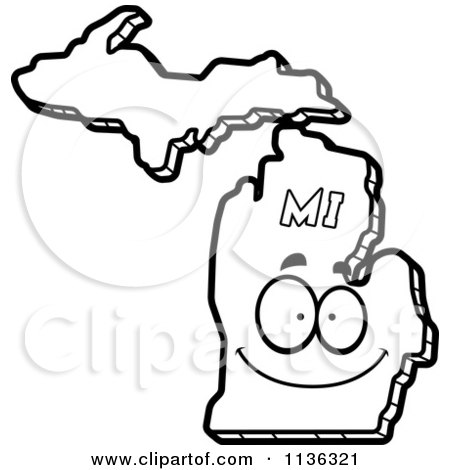 450x470 Cartoon Clipart Of An Outlined Happy Michigan State Character