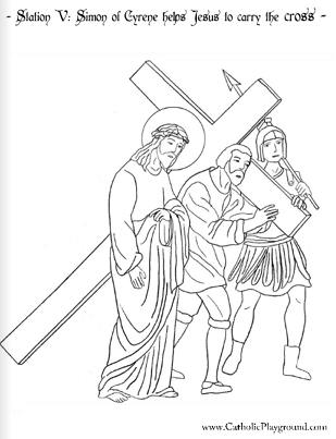 309x403 Coloring Page For The Fifth Station Of The Cross Simon Of Cyrene