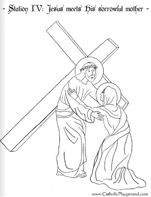309x403 Coloring Page For The Fourth Station Of The Cross Jesus Meets His