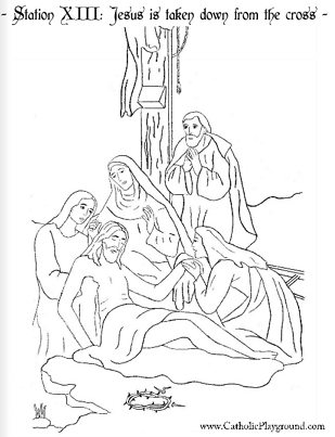 309x403 Coloring Page For The Thirteenth Station Of The Cross Jesus Is