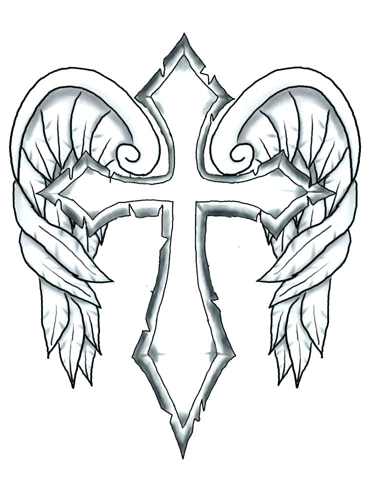 736x976 Cross Color Pages Cross Coloring Pages Drawn Wings Coloring Page
