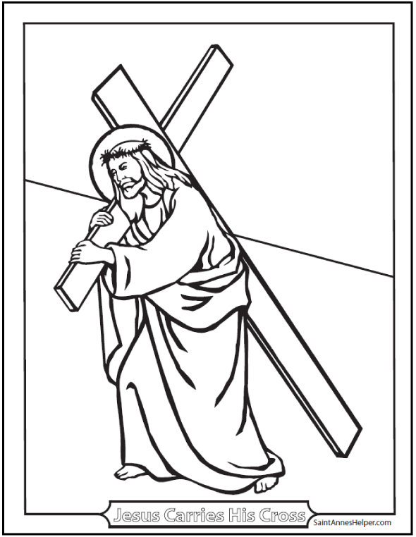 590x762 Carrying Of The Cross Coloring Picture