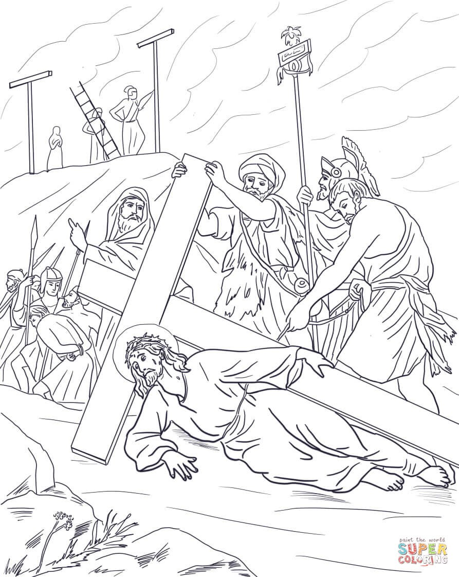 893x1121 Coloring Page Jesus With Crown Thorns New Jesus Stations