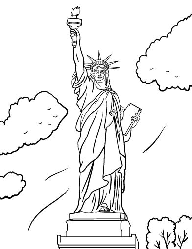 392x507 Homey Inspiration Statue Of Liberty Coloring Pages Kids Printable