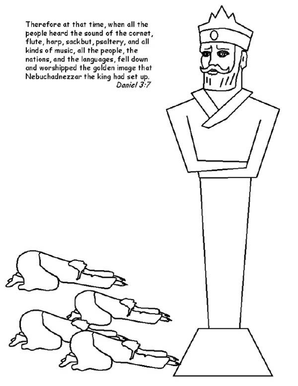 600x777 People Worship King Nebuchadnezzar Statue Coloring Pages People