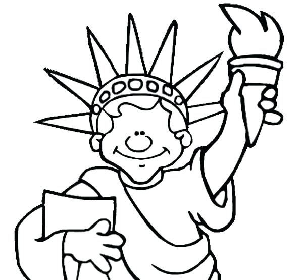 600x555 Statue Liberty Crown Coloring Page Medium Size Statue