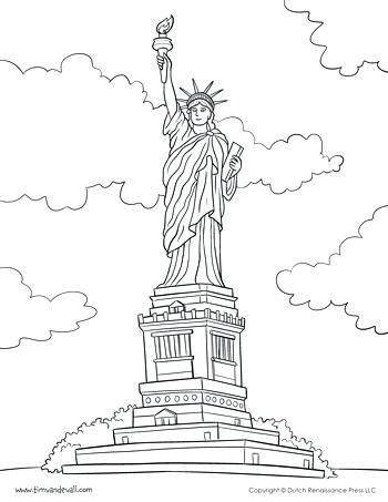 350x453 Statue Of Liberty Coloring Pages To Print Printable Coloring Page