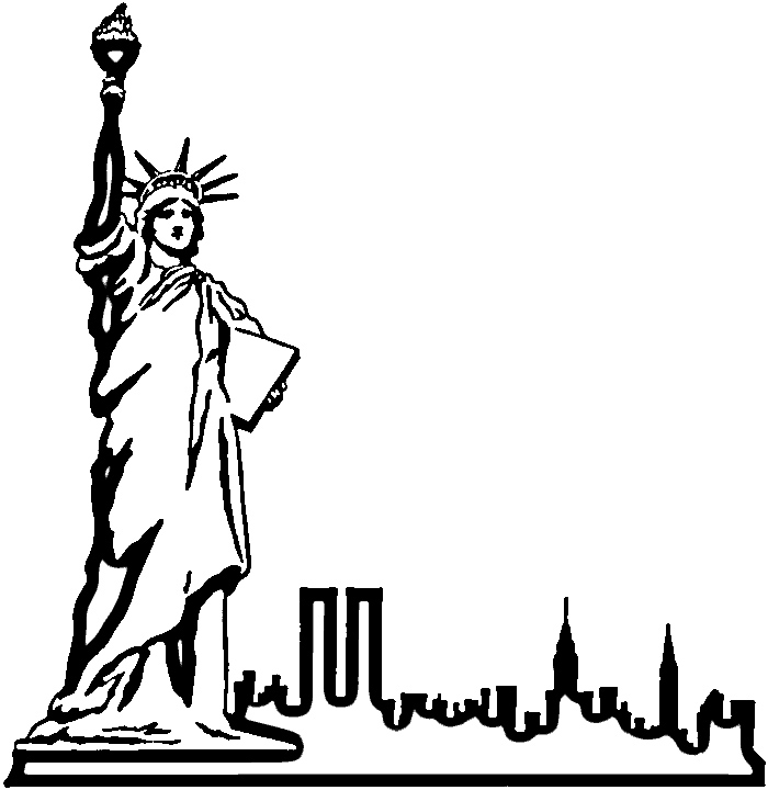 700x720 Drawn Statue Of Liberty Outline