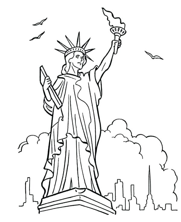 600x734 Statue Of Liberty Coloring Page Coloring Pages Statue Of Liberty