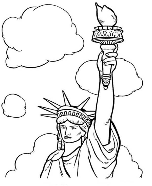 600x734 Statue Of Liberty And White Clouds Coloring Page