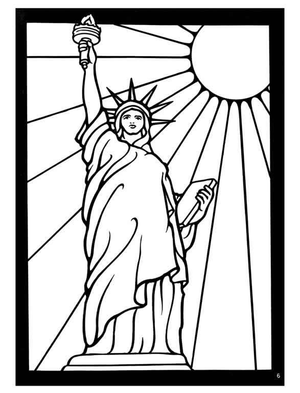 587x770 Kleurplaat Vrijheidsbeeld Amerika New York Statue Of Liberty