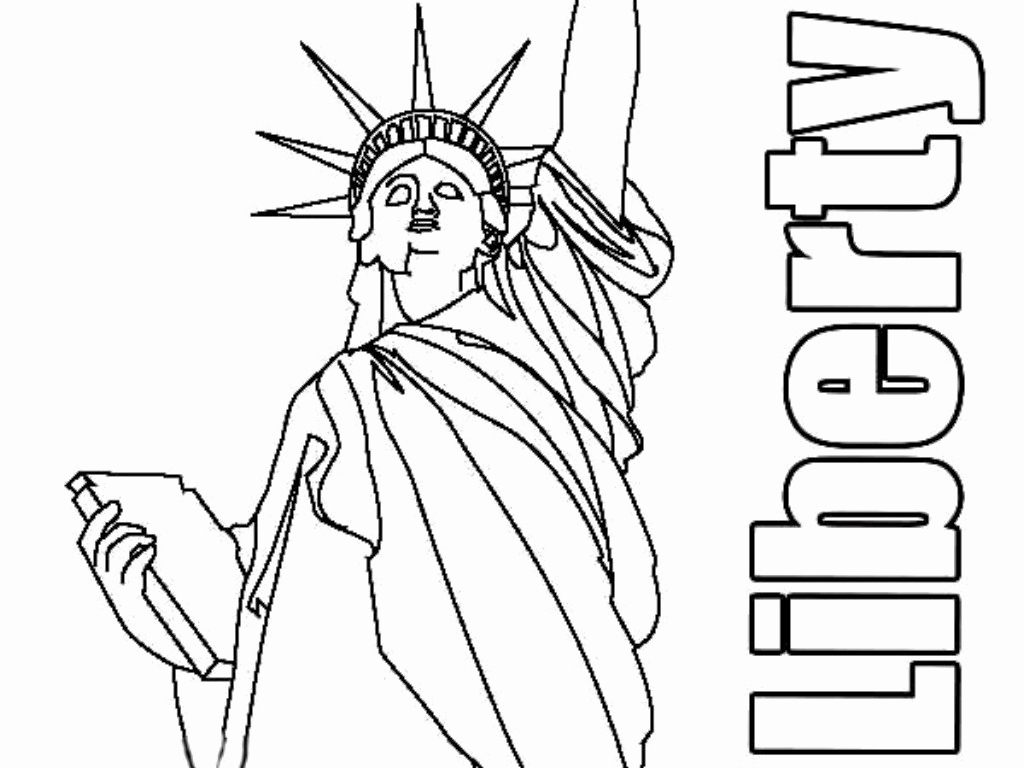 1024x768 Statue Liberty Coloring Page Pics Free Printable Statue