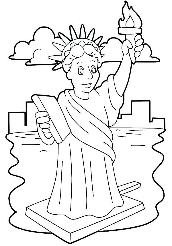 600x854 Statue Of Liberty Coloring Pages Coloring Book Page Of Statue