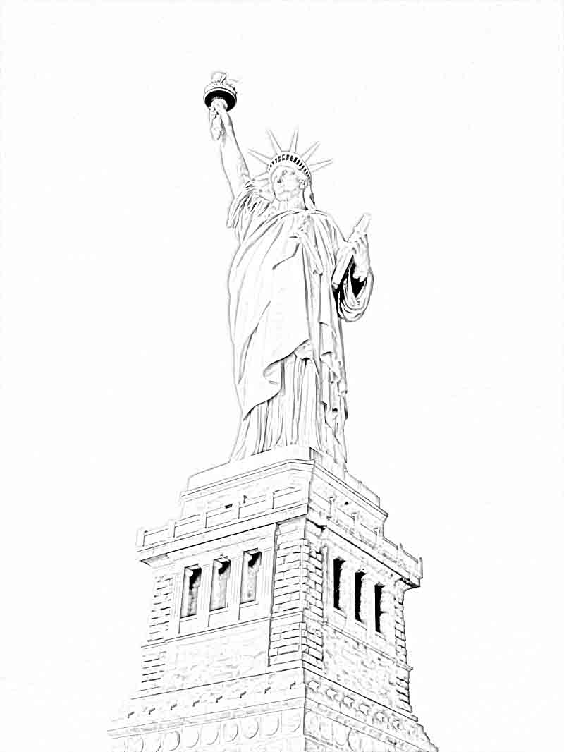 800x1066 Edge Coloring Pages Of The Statue Liberty Page
