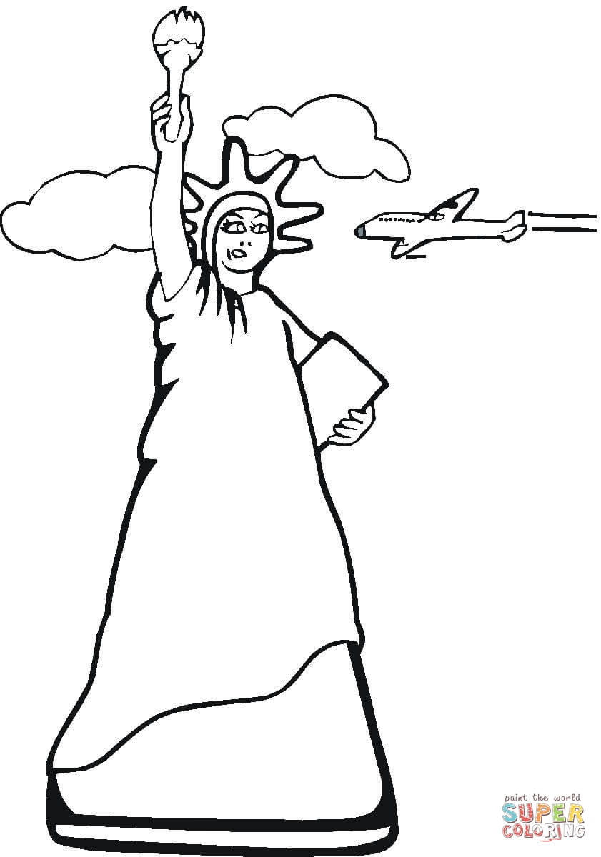 841x1200 Impressive Black And White Statue Of Liberty Cartoon Coloring Page