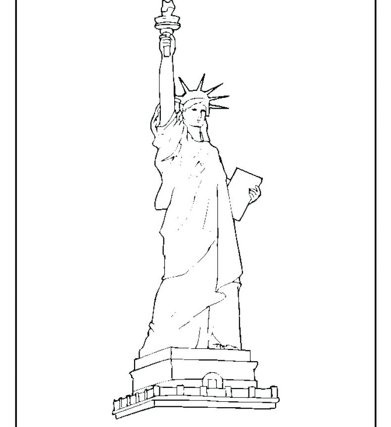 790x864 Statue Of Liberty Color Page Collection Of Landmarks Around