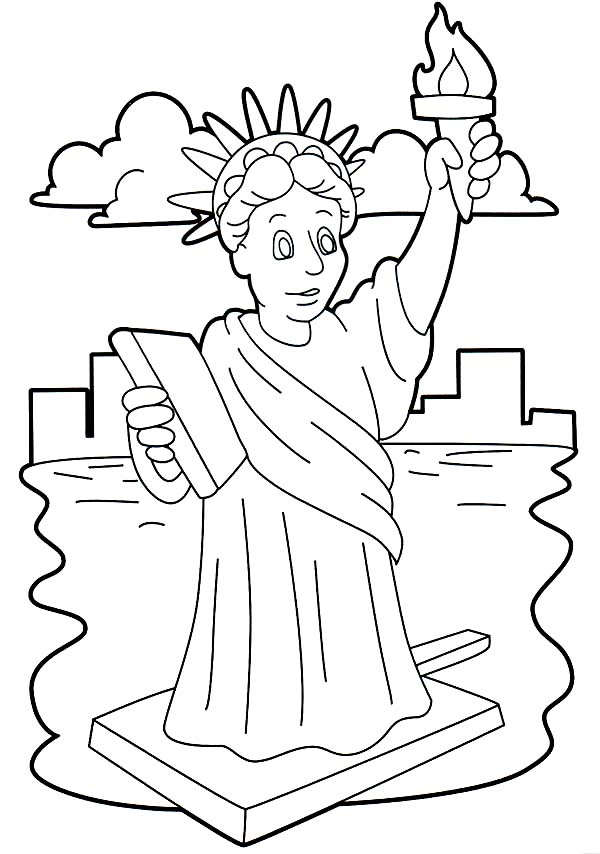 600x854 Stunning Statue Of Liberty Coloring Page