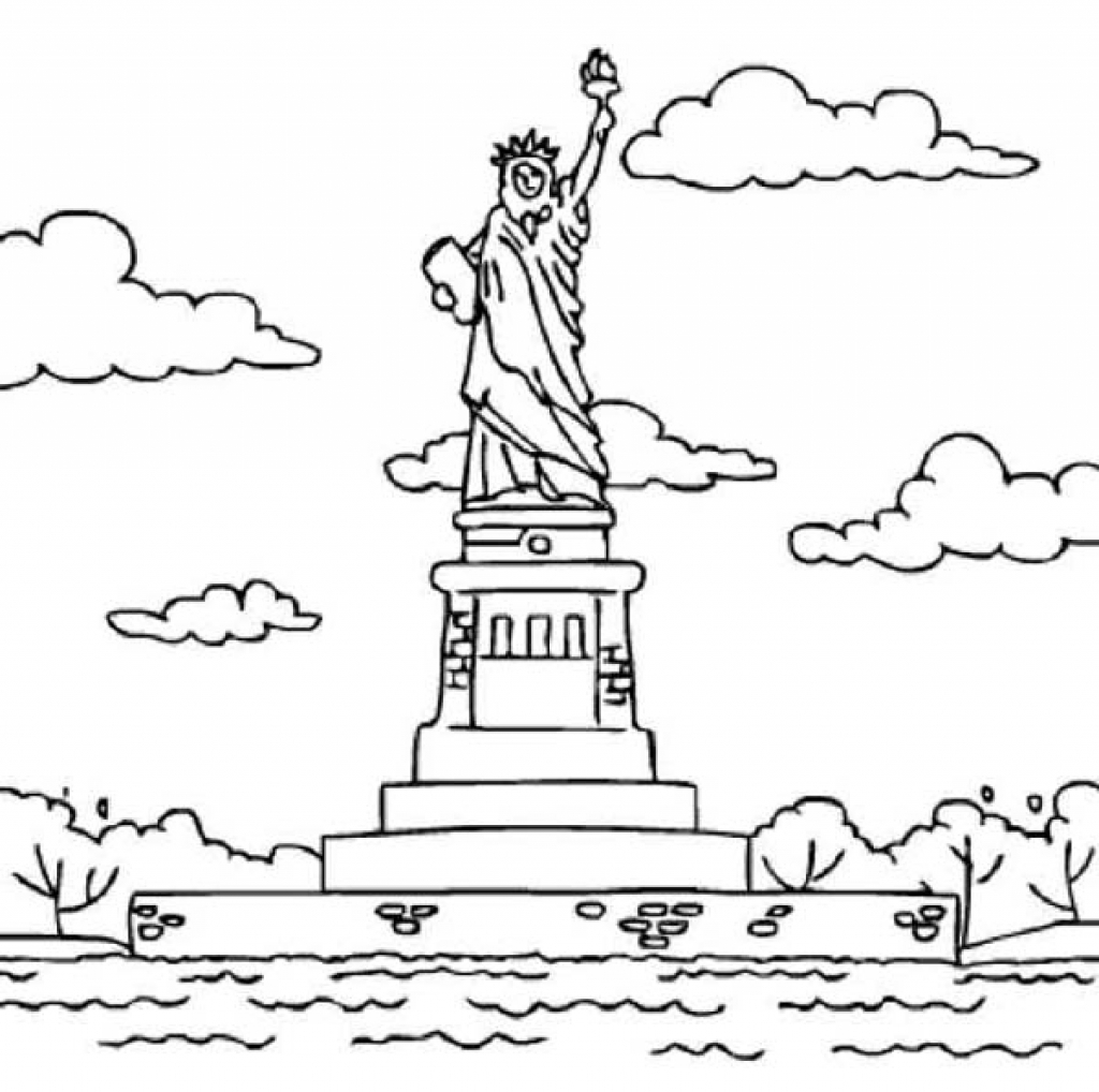 1024x1018 Immediately Statue Of Liberty Coloring Page Am