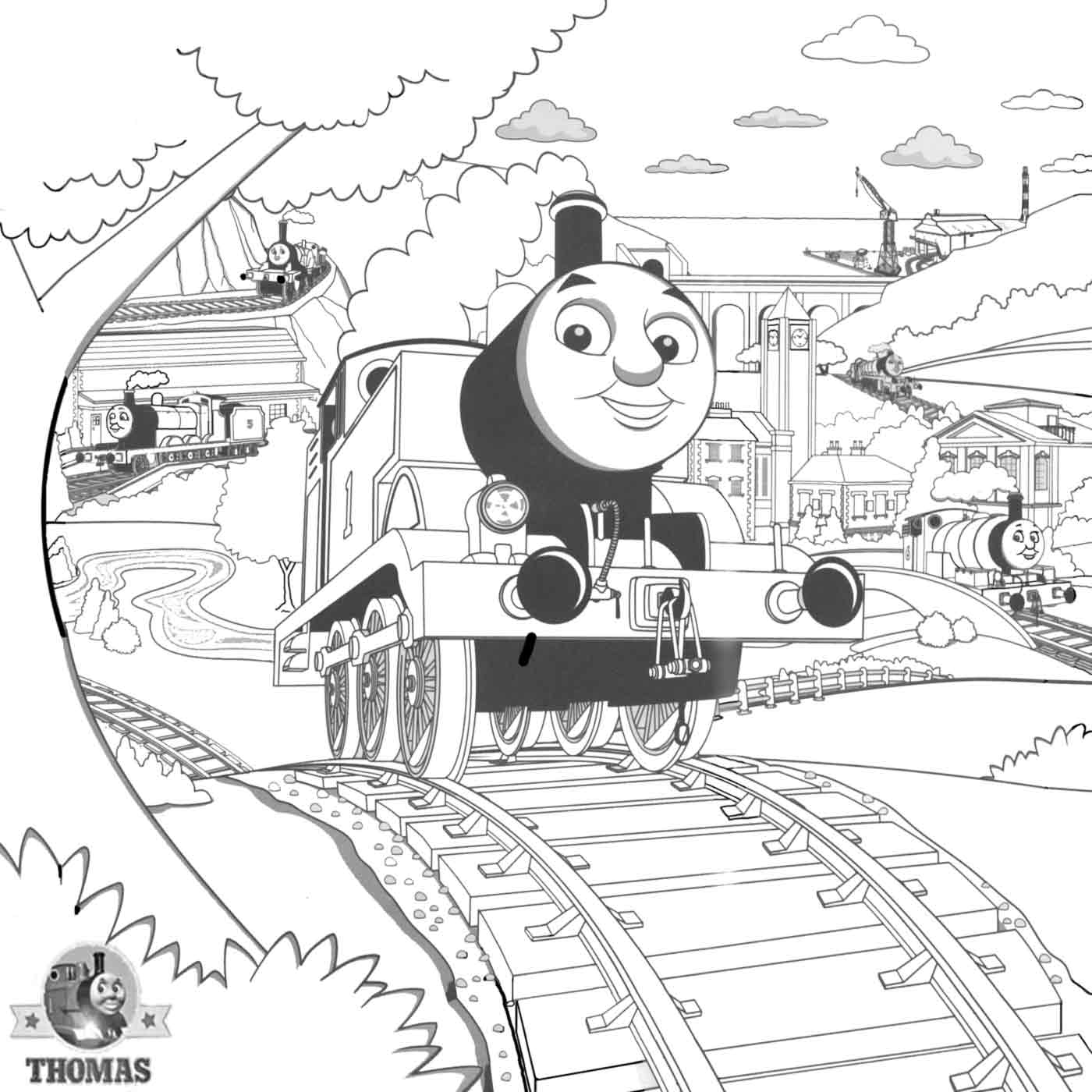 1400x1400 Steam Train Coloring Pages Printable