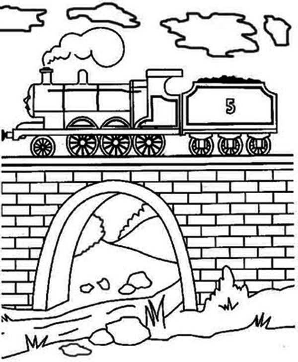 600x729 Steam Train Over The Bridge Coloring Page