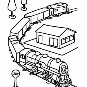 300x300 Long Steam Train On Railroad Coloring Page Color Luna