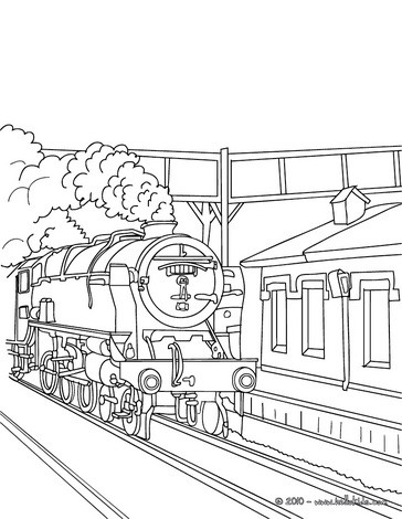 364x470 Old Steam Train Getting In The Train Station Coloring Pages
