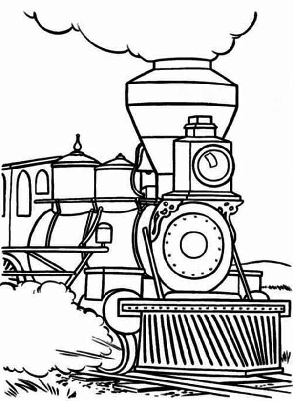 600x821 Steam Train Begin To Walk Coloring Page