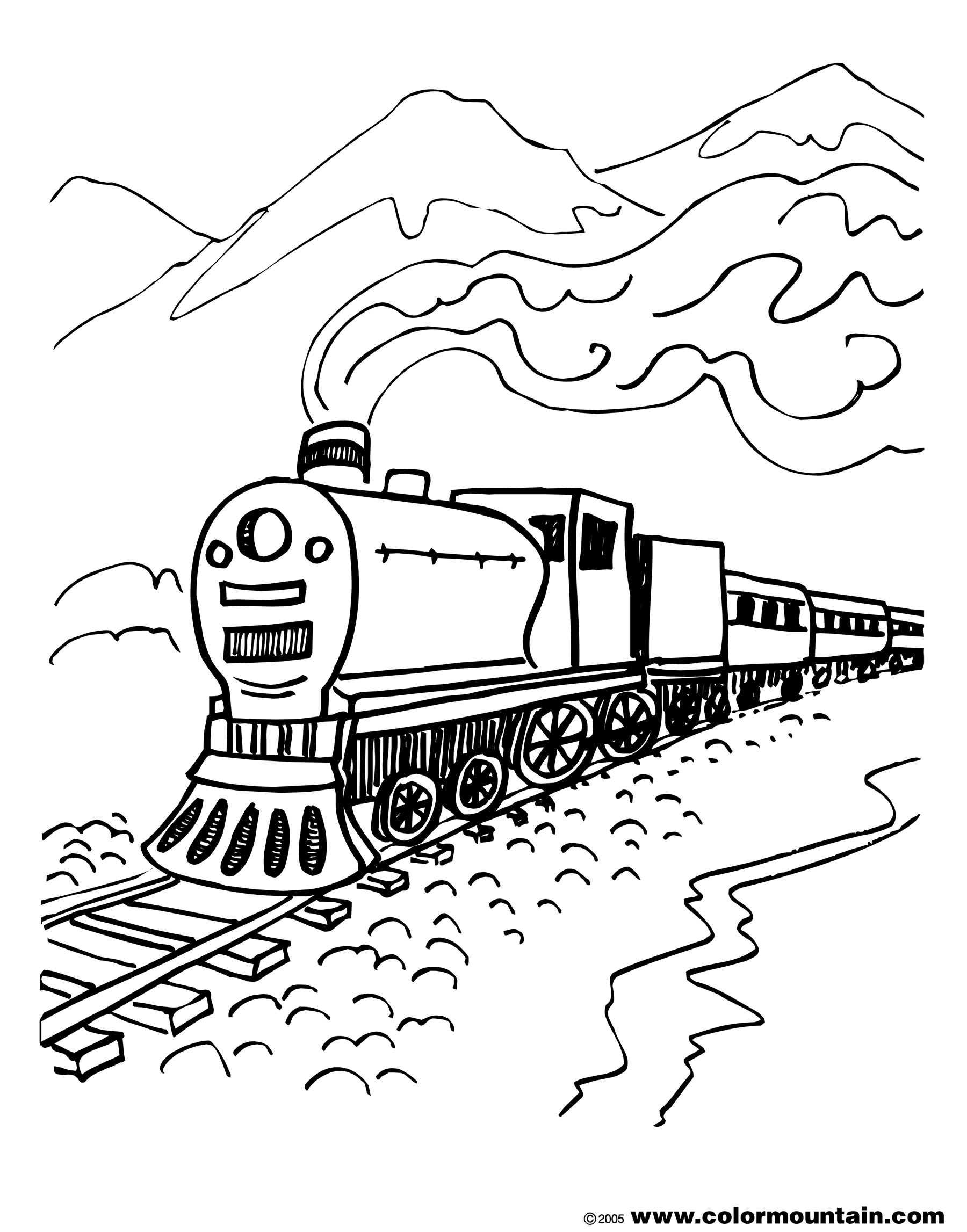 1800x2294 Steam Train Coloring Pages
