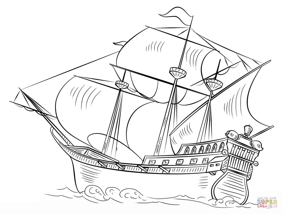1080x817 Simple Ship Coloring Pages Best Of Spanish Galleon Coloring Page