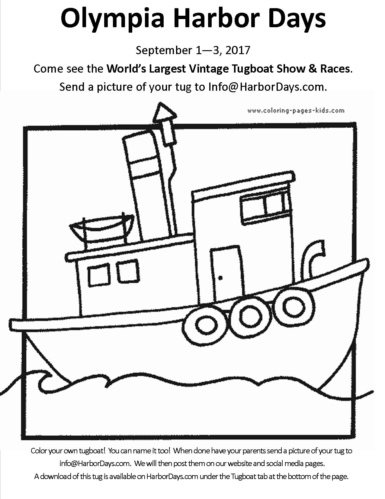1275x1650 Tugboat Coloring Page